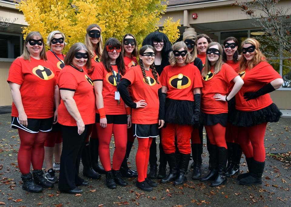 Staff dressed as Incredibles